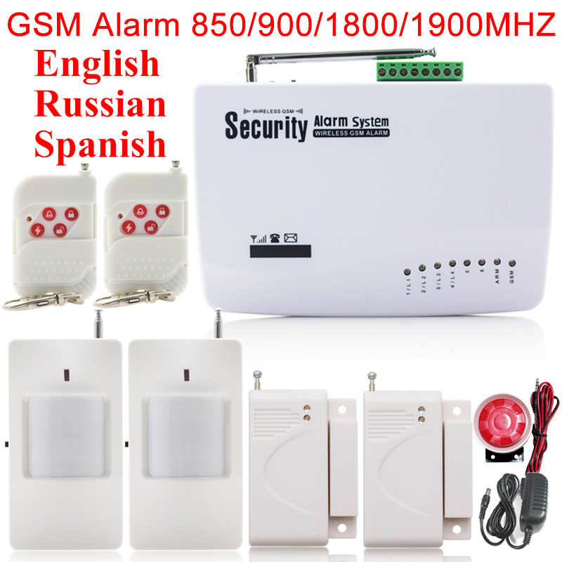 Free Shipping Double Door Window Sensors Wireless Motion Detector Remote Control Home GSM Burglar Security Alarm Units Russian(China (Mainland))