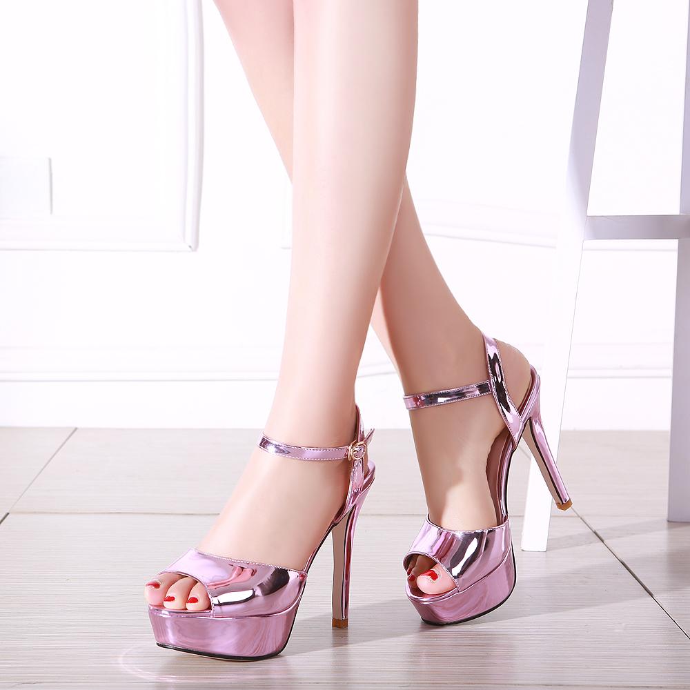Cheap Silver Open Toe Heels