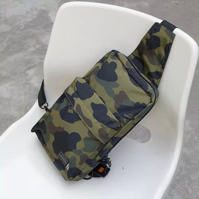 BAPE Men Camping Camo Chest bag Outdoor Sport Nylon Wading Chest Pack Cross body Sling Single Shoulder Bag 4 colors(China (Mainland))