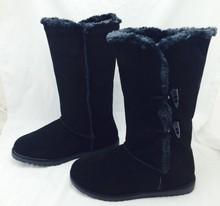 Gamuza Natural de las mujeres de invierno botas de nieve zapatos de mujer de Cuero Genuino talón plano botas altas Horns deducción(China (Mainland))