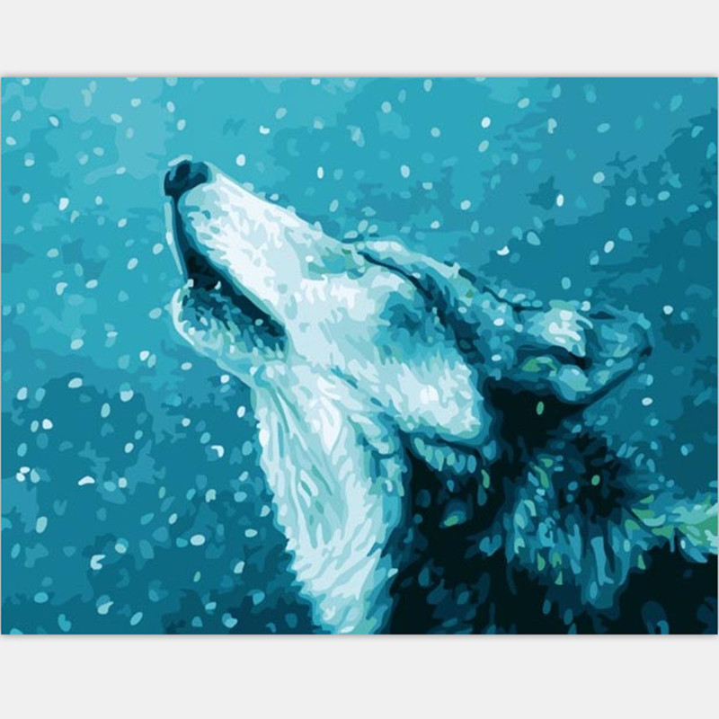 hand painted canvas oil paintings wolf howl pictures on the room wall home decoration diy oil painting by numbers 40X50cm PT107(China (Mainland))