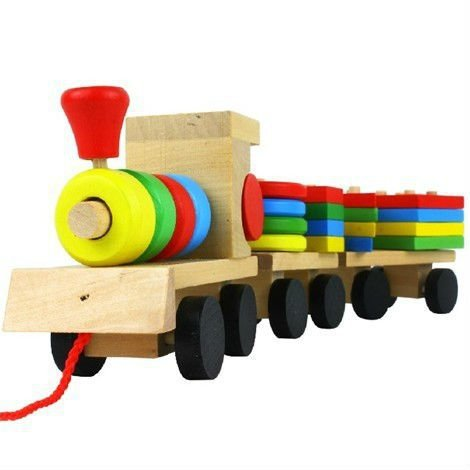 Shape Of Three Section Blocks Cars Small Tractor Train Environmental Protection Wooden Toy thomas Train toys for children S54(China (Mainland))
