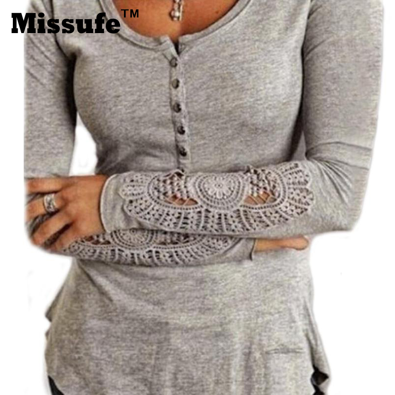 Blusas 2016 Spring S-2XL Plus Size Lady Tee Shirts Gray White Black Lace Crochet Sleeve Thick Stretchy Cotton Women Tops(China (Mainland))