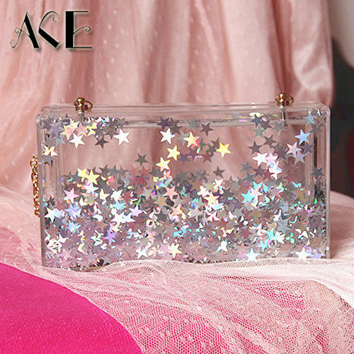Trend of stars moving transparent acrylic pearl women's fashion personality chain shoulder bag clutch evening bag handbag purse