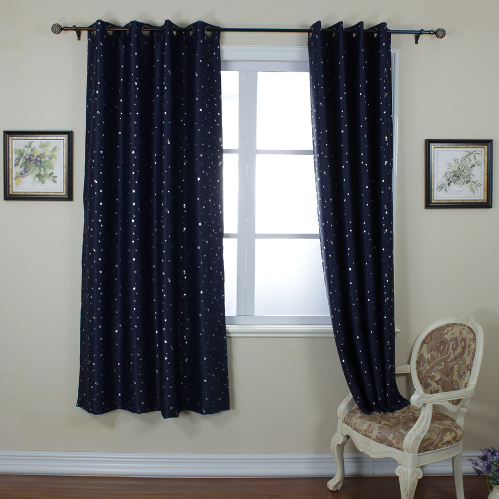 One panel per pack fashion drapes navy blue star print for Cortinas black out