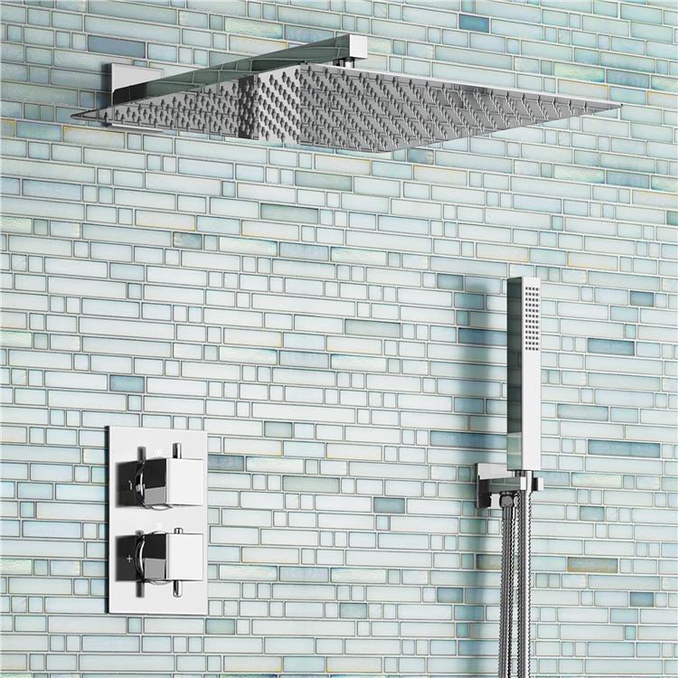 "16"" Ultra Thin Square Rain Shower Head Set Thermostatic Mixer Chrome Bathroom Valve Set(China (Mainland))"