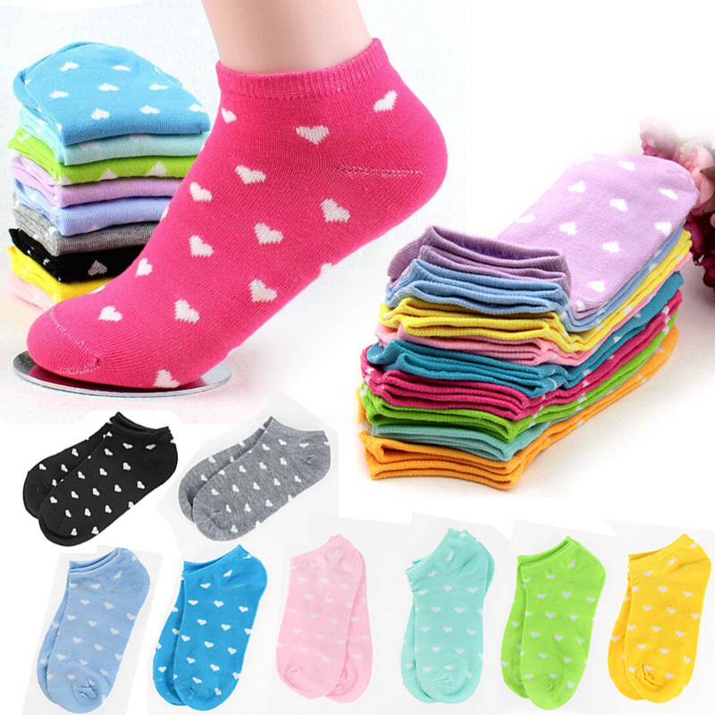 5 Pair/Lot Women Socks Candy Color Dot Sock Sports Casual Cute Heart Ankle High Low Cut Cotton Socks 10 Colors Free Shipping A1(China (Mainland))