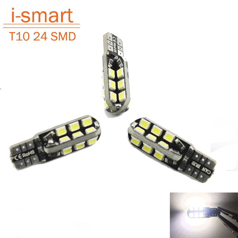 Car w5w t10 LED interior light 24 smd cree reverse light 2835 marker lamps reverse dome parking bulb DC 12V canbus auto(China (Mainland))