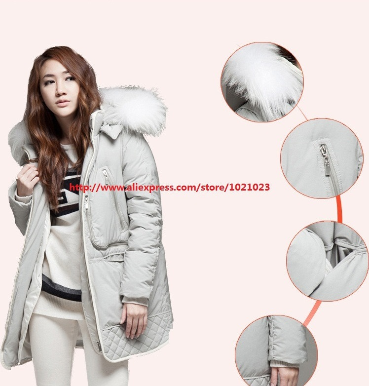 High Quality! In 2014 Winter Ms Han Edition Military Thickening Heavy Hair Get Warm Long Down Jacket(China (Mainland))