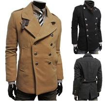 Free shipping 2015 high quality winter new fashion brand men's double-breasted wool Coats & Jackets, trench coat men 3 color (China (Mainland))