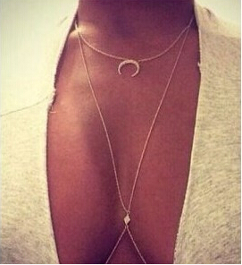 Promotion Fashion lady women necklaces body jewelry sexy rhinestone moon belly chains personality brief body chains