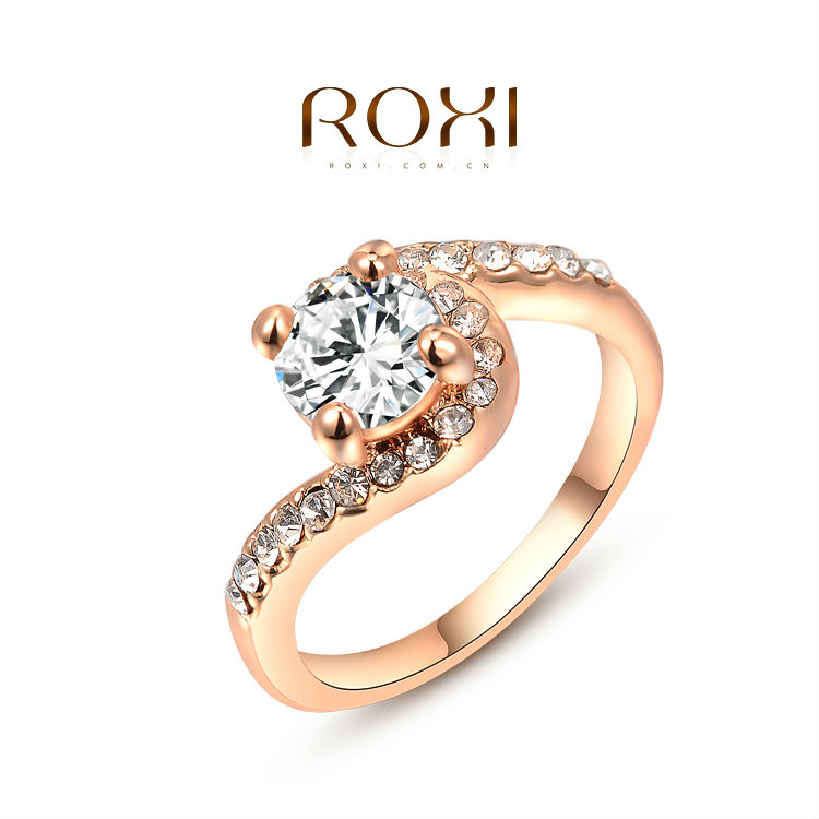 ROXI new arrival rose gold plated simple ring set with AAA Australia Crystal romantic fashion wedding Jewelry & gift 2010458250b(China (Mainland))