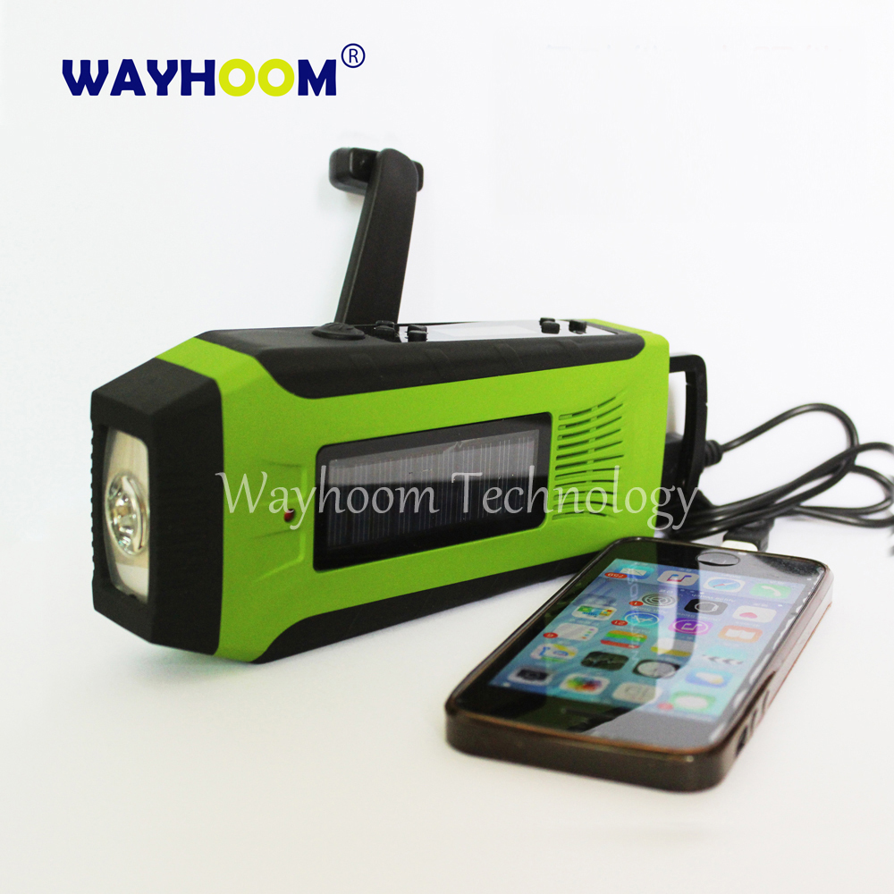 AM/FM Radio Hand Crank Charger Solar Power Radio 2000mAh Emergency USB Phone Charger(China (Mainland))