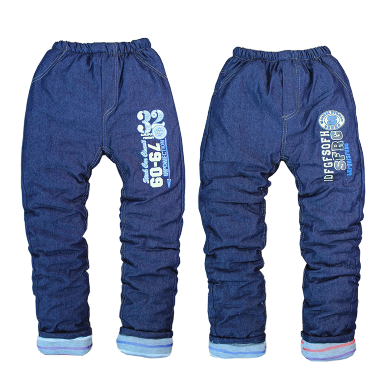 High quality 1pcs thick warm winter Jeans pants kids trousers children pants baby boys girls pants