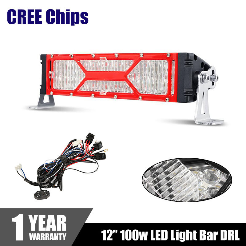 "Red X-series CREE Chips LED Light Bar DRL 12"" 100W Combo Beam Eagle Eye Dual Row Car Work Light Bars 4x4 Offroad 4WD for Jeep(China (Mainland))"