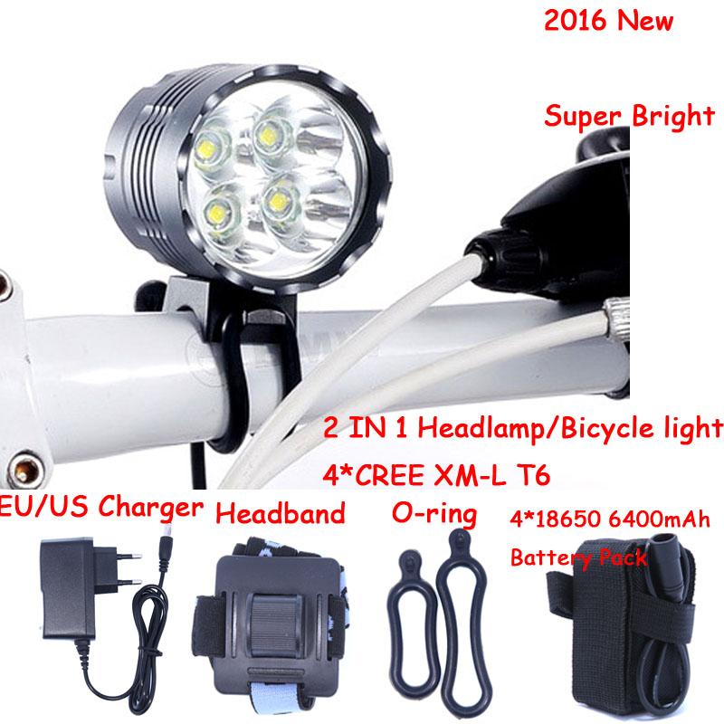 5000 Lumens 4T6 Headlight 4 x CREE XML T6 LED Bike Bicycle Light & LED HeadLight Headlamp,6400mah Rechargeable battery Pack(China (Mainland))
