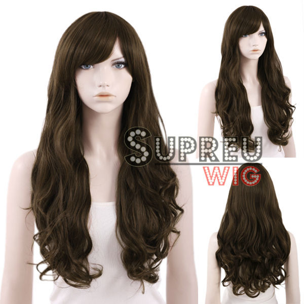 65cm Heat Resistant Long Curly Dark Brown Fashion Stylish Hair Wig with Bangs WIG088<br><br>Aliexpress