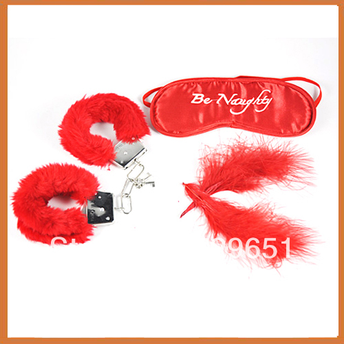 2014 hot!best sex set 3pcs/set Sexy furry hand cuffs+soft feather +eyeshade adult toys cheap price on sale Free shipping(China (Mainland))