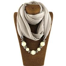 Blucome nouveau Vintage ethnique écharpe collier résine perles pendentif polyester unique jersey religieux foulard colar écharpe bijoux(China)
