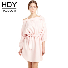 Buy HDY Haoduoyi Fashion Women Mini Dress Long Sleeve Shoulder Female A-line Dress Sweet Solid Drawstring Ladies Casual Dress for $15.99 in AliExpress store