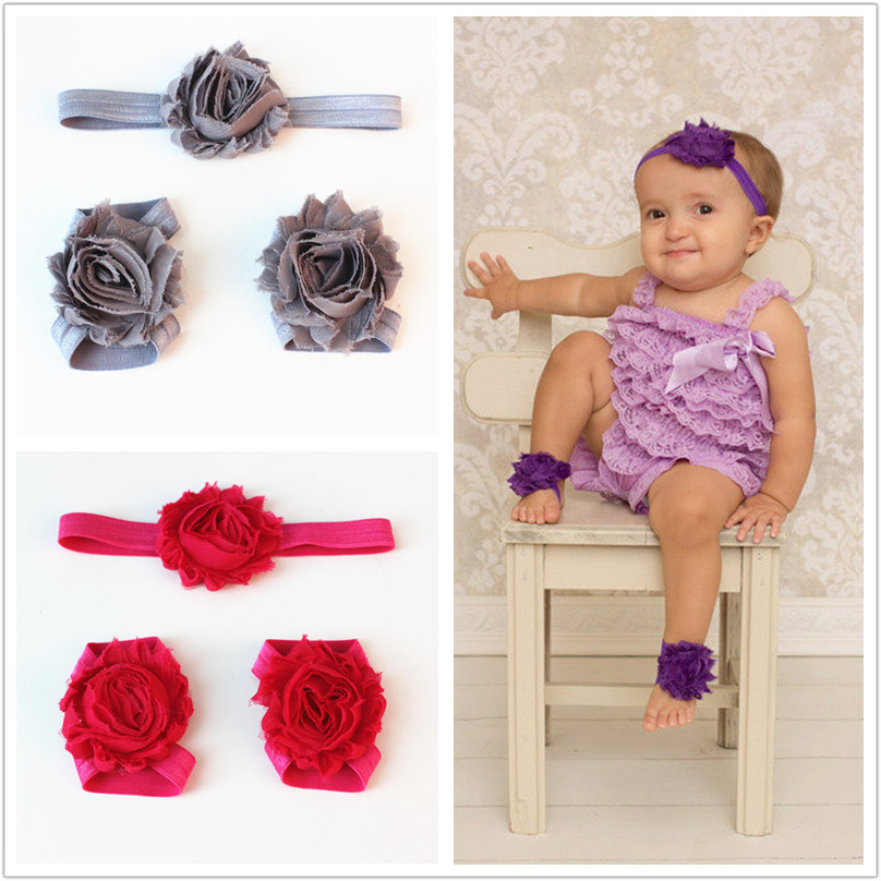 Pink Shabby Flower Barefoot 2016 New Arrival Baby Foot Flower 3Pcs / Set Barefoot Sandals Cute Baby Girls Hair Accessories XC02(China (Mainland))
