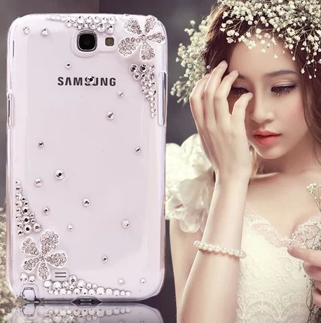 Rhinestone crystal case cover for Samsung Galaxy Note 2 Note2 Note II N7100 hard back skin case(China (Mainland))