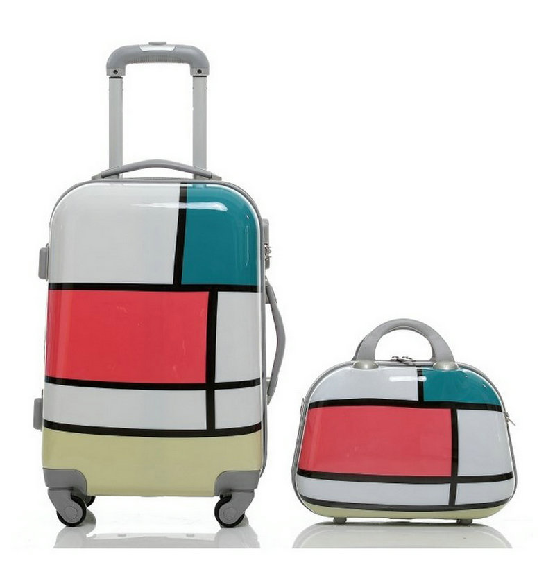 Fashion Suitcase Cartoon Geometric Patterns Travel Trolley Luggage Bag ABS+PC Universal Wheels Sets Women Bags
