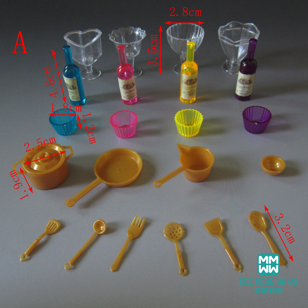 22pcs/lot Mini Tableware Toys Food Bottles Teacups Kitchen Dining accessories for BJD doll house accessory play toy(China (Mainland))