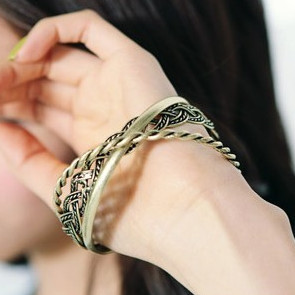 Min. order 12 pieces mix available,Retro braided bracelet 3 pcs/set ,5073.2821. Free shipping