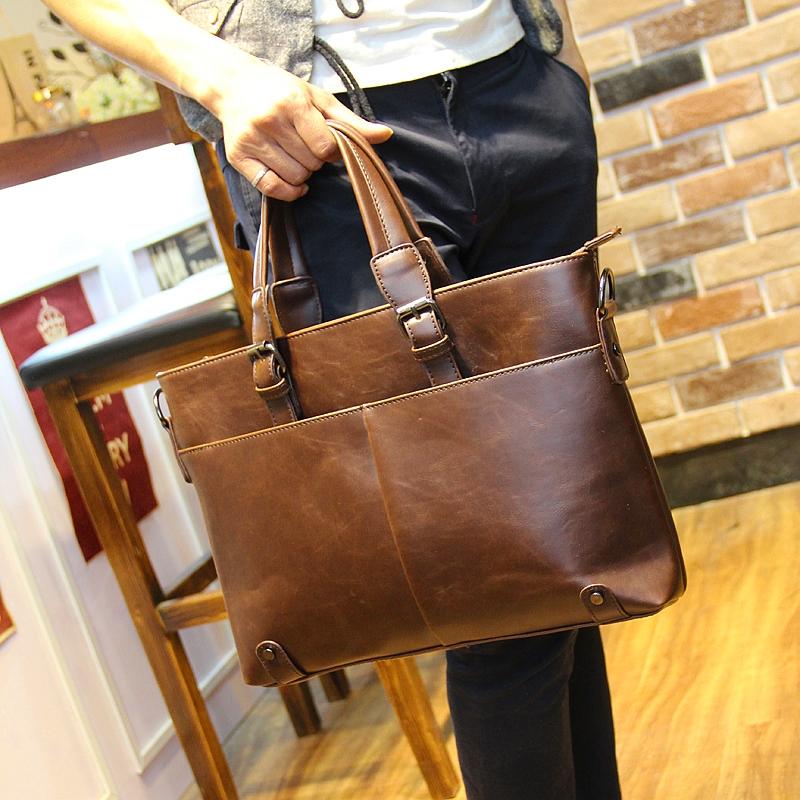 Genuine Leather Men s Briefcase Business Bag Fashion Laptoptas Men s Vintage Notebook Computer Bag 13