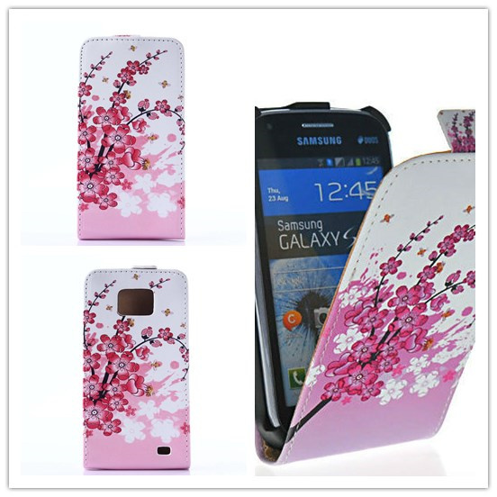Fashion Flower Butterfly Flip Leather Case Cover for Samsung Galaxy S2 Plus I9105 GT-I9105 S II S 2 SS i9100 GT-I9100 Phone Case(China (Mainland))