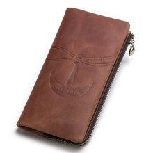 CONTACT'S Новинка брендовый бумажник из натуральной кожи с застежками молния и отделениями для карт в винтажном стиле мужчины длинный кошелек ...(China)