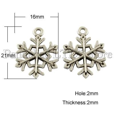 Tibetan Style Pendants, Cadmium Free &amp; Nickel Free &amp; Lead Free, Snowflake, for Christmas, Antique Silver, 21x16x2mm, Hole: 2mm<br><br>Aliexpress