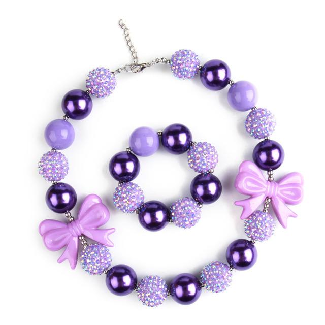 Фиолетовый дети бусины ожерелья коренастый жевательная резинка шарма с браслет девушки ...