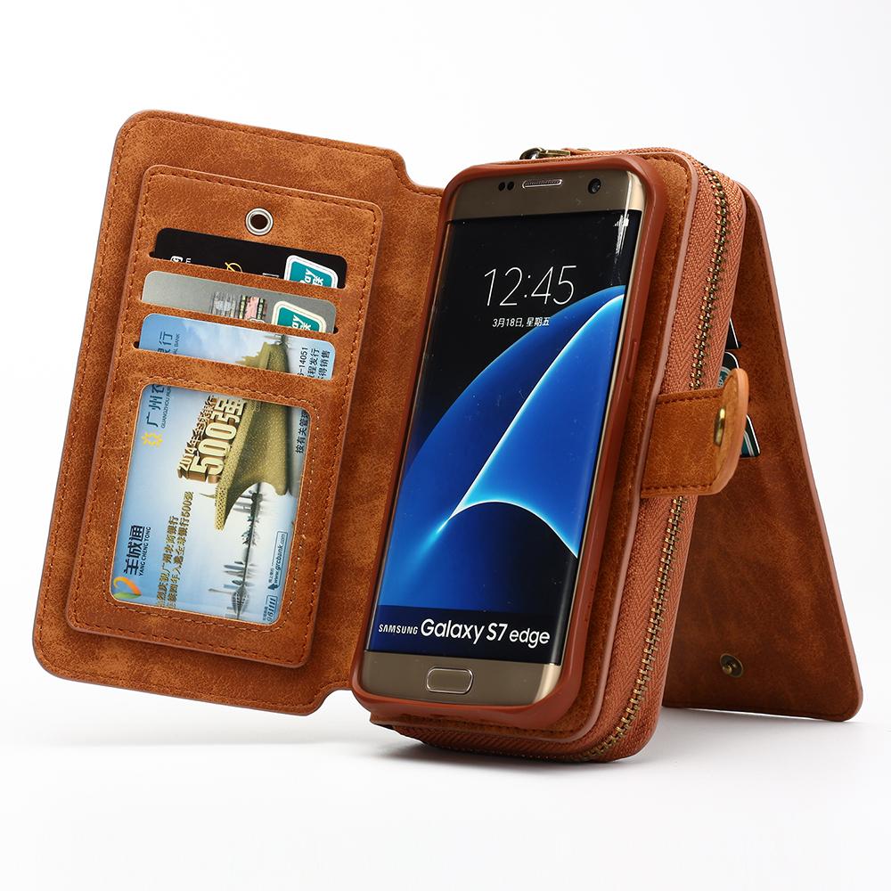 For Samsung Galaxy S7 Edge Phone BagLady Women PU Leather Scrub Hand held Zipper Handbag Wallet Purse Card Phone Case Cover(China (Mainland))