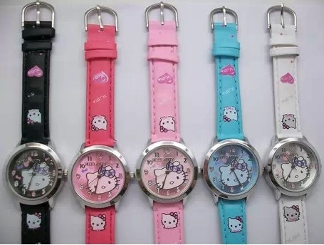Free Shipping 5color Leather Band Hello Kitty Watch,Child Watch retail(China (Mainland))