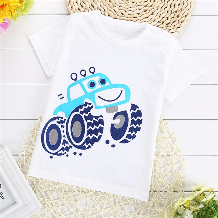 2017 Summer Baby 1-2 T Boys Girls T-shirt Short Sleeve O-Neck 100%Cotton tees Kids White Clothes Character Cute Monkey Printed