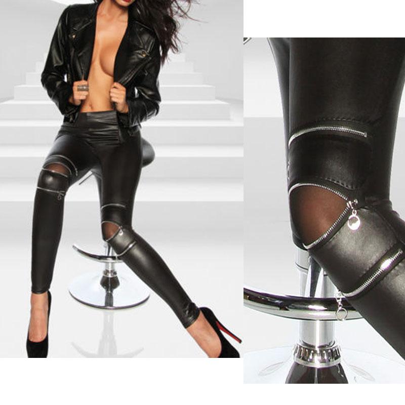 Model  Women Leather Pencil Pants Oversize Hot Women Casual Leather Pants