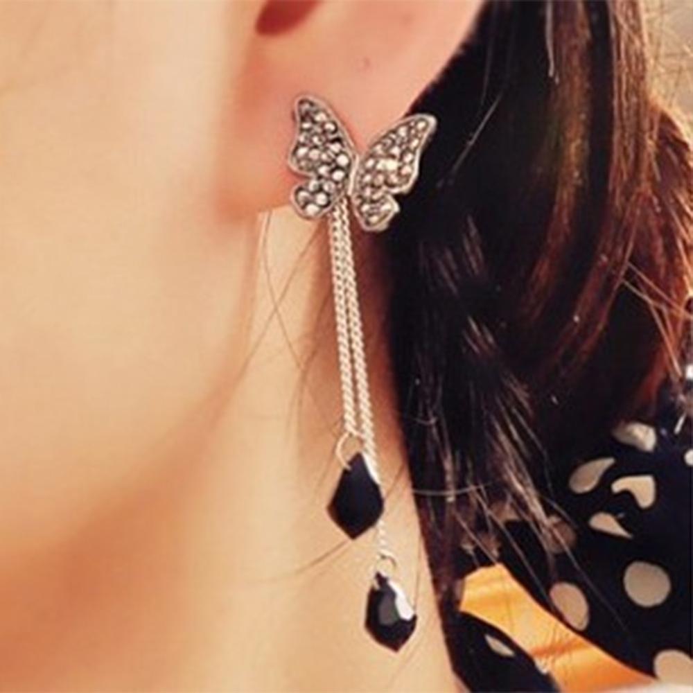 Stunning Tassel Rhinestone Crystal Butterfly Waterdrop Long Pendant Earring(China (Mainland))