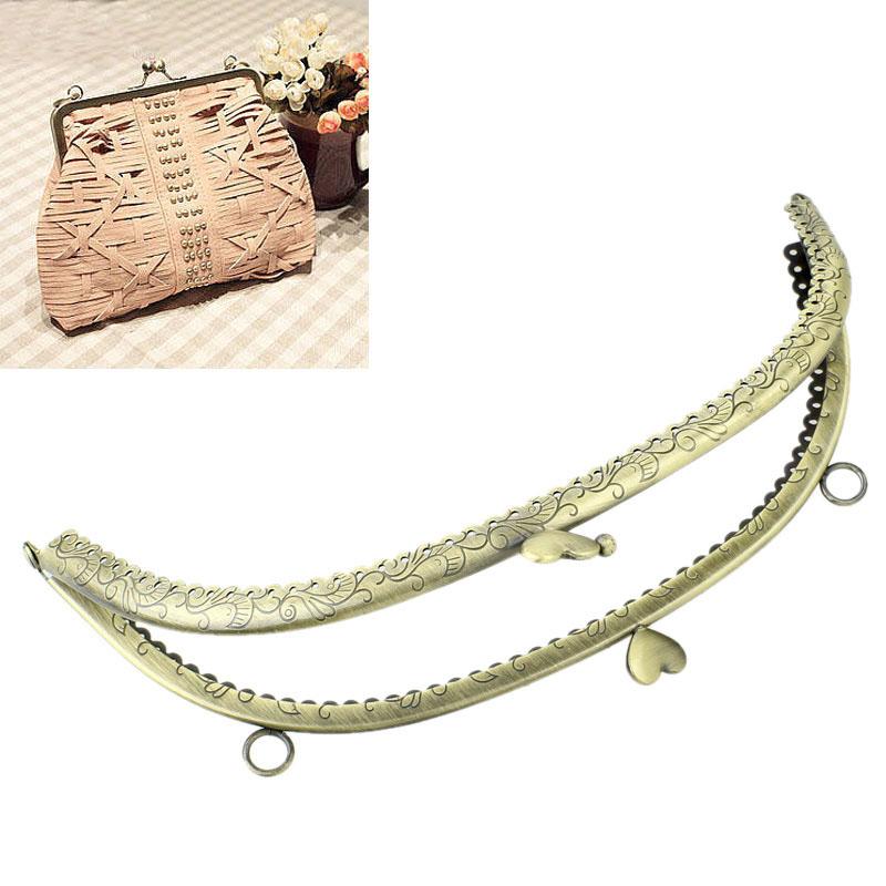 2x1PC 25cm x11cm Metal Purse Bag Frame Kiss Clasp Lock Bronze Tone 25cm x11cm(China (Mainland))