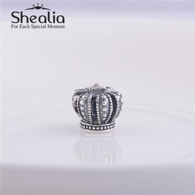 Стерлингового серебра 925 пробы старинные королевскую корону шарм бусины DIY ремесло ювелирных изделий подходит европейским пандора стиль браслеты дизайн