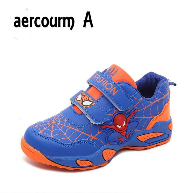 Aercourm 2016 Человек-Паук Дети Shoes Осенью Мальчиков Спортивные Shoes Открытый Дышащий Кроссовки Shoes Зимние Девушки Кроссовки 26-36