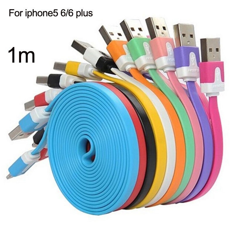 New fashion Noodle Flat 8 Pin to USB Charger Cable Charging Sync Data Cord For Apple iPhone 6 5 5S IPAD 4 Mini Air IOS 8/7
