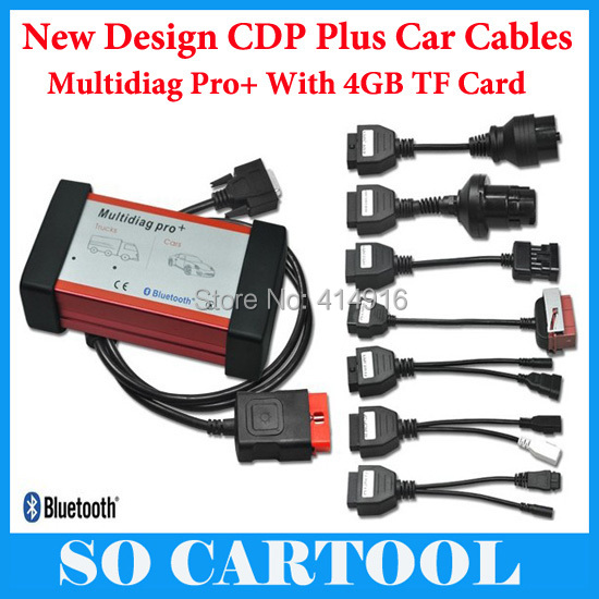 V2015.03 Free Activate Bluetooth Multidiag Pro+ Cars/Trucks OBD2 4GB TF Card + Full Set Car Cables DHL - So Cartool Co., Ltd store