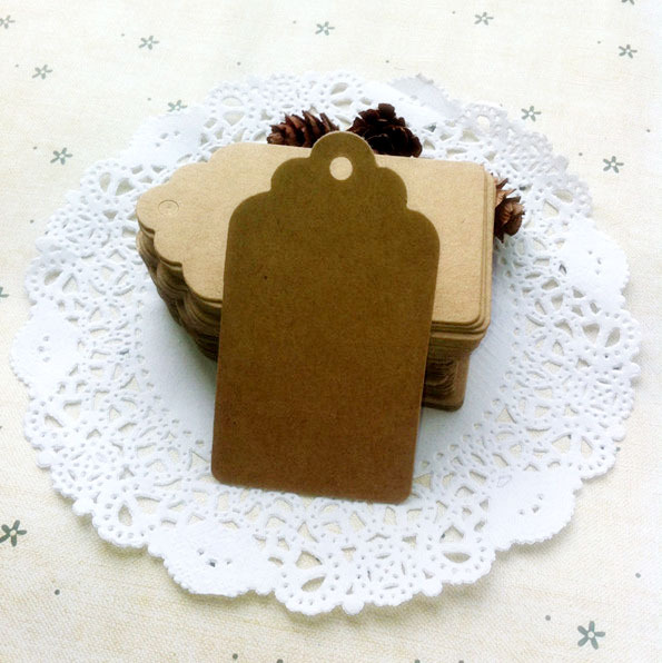 7*4cm Antique Kraft Paper Gift Cards/Tags with Swirl Edges for Wedding Party Favor Gift Decoration(China (Mainland))