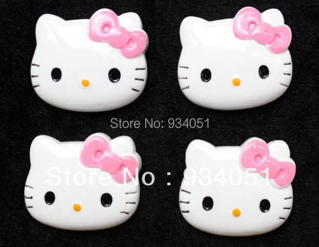 Set of 15pcs Big Kitty Face with Pink Bow Cabochon 39mm Resin Flatback buttons DIY Decor Accessary wholesale free shipping(China (Mainland))
