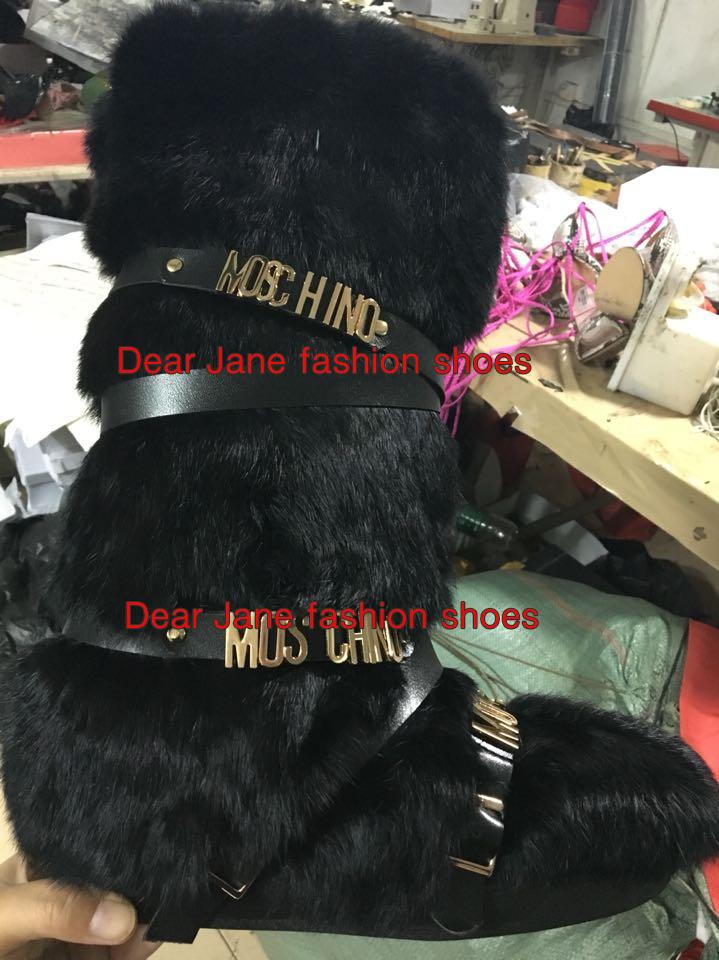 К 2015 году новых Кролик меховой женщин колено высокие снега сапоги МОП-металл буквами пряжками ремешок женские зимние теплые черные сапоги меховые сапоги обуви