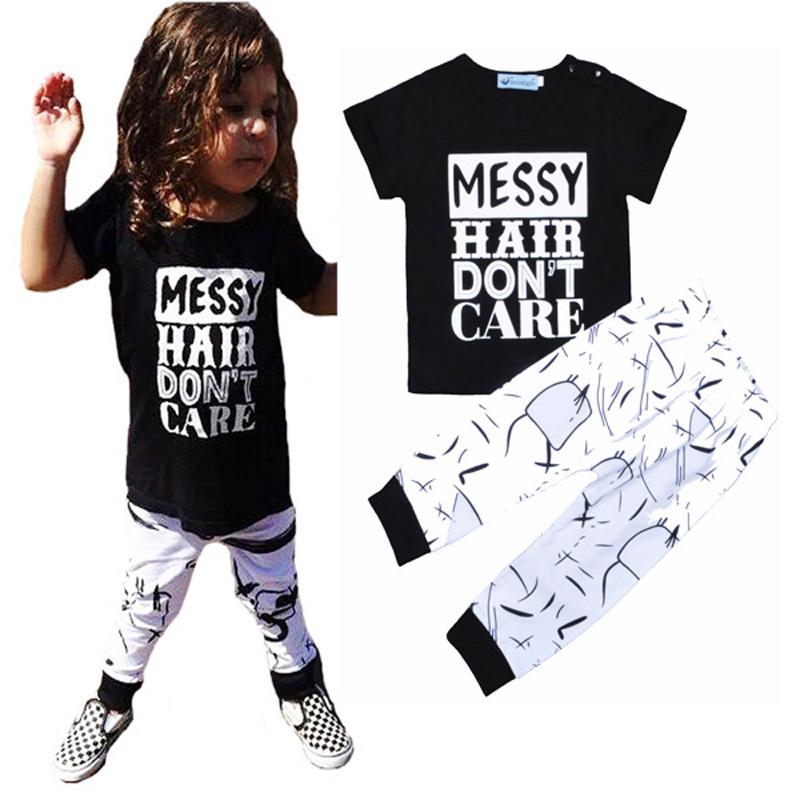 Retail Letter Printed Girl Clothing Set MESSY Hair Don't Care Short T-shirt + Harem Pants Baby Boy Clothes Set vetement enfant(China (Mainland))