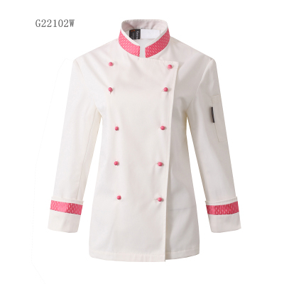 New dazzle colour female chef uniform double-breasted long sleeve overalls embroidery collar cook working wear jacket plus size(China (Mainland))