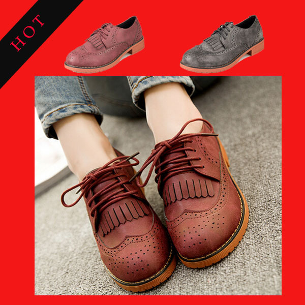 new retro ladies casual shoes woman lace low-heeled Non-slip oxford shoes women(China (Mainland))